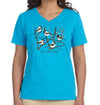 Chickadees T Shirt Birds Birdwatching in Women's Aqua Blue V Neck Cotton