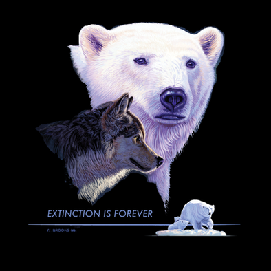 Detail of Extinction is Forever wildlife t-shirt design, featuring a polar bear and a wolf, with a smaller vignette of a polar bear with her cub