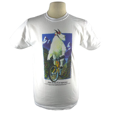 Detail of Mountain Goat t-shirt design, showing a mountain goat riding a bike along a trail with wildflowers