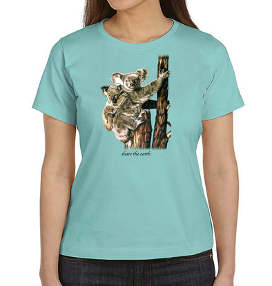 Koalas Women's T-Shirt on Chill Teal Blue