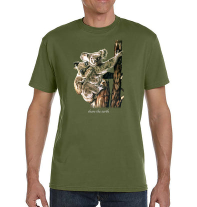 Koalas Organic T-Shirt on Olive Green