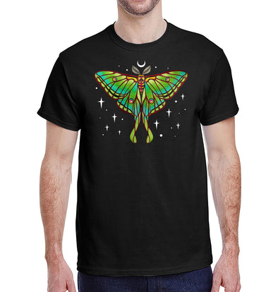 Moon Luna Moth Heavyweight Unisex T-Shirt on Black