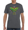 Moon Luna Moth Organic Unisex T-Shirt on Charcoal Gray