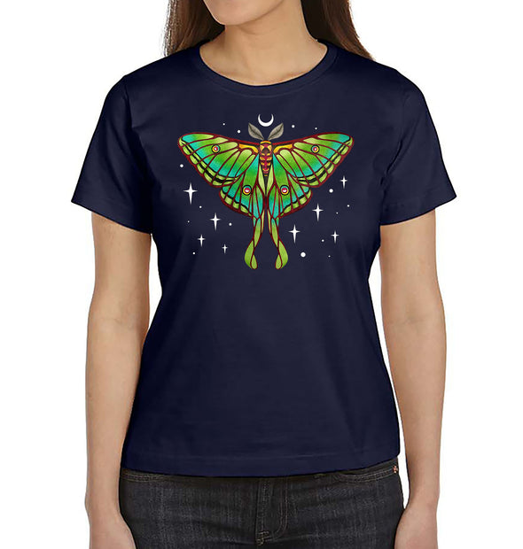 Moon Luna Moth Women's T-Shirt on Navy Blue