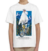 Mountain Goat on a Bicycle White Youth T-Shirt