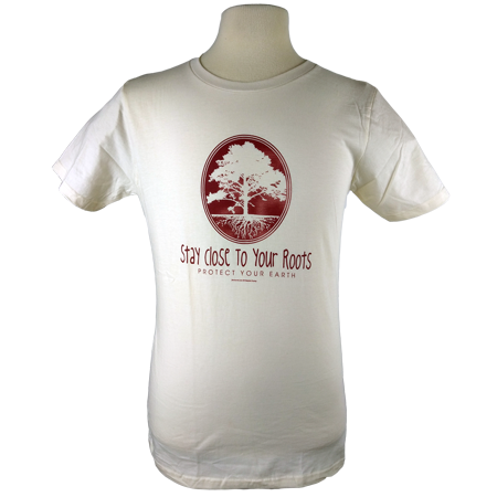 Stay Close to Your Roots design on Men's Heavyweight t-shirt in Natural