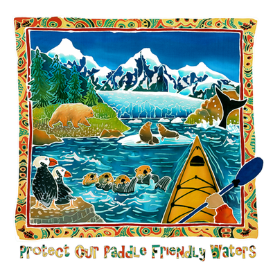 Detail of Paddle Friends wildlife t-shirt design, the sights of the Pacific Northwest from a paddler's point of view on this shirt include tufted puffins, sea otters, sea lions, a grizzly bear, a whale tail, and the glacier and snow-capped mountains at the end of the fjord