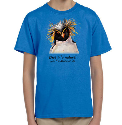 Dive Into Nature Penguin Youth T-Shirt in Iris Blue
