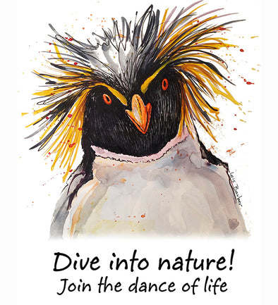 Dive Into Nature Macaroni Penguin T-Shirt Design by Lois Barber