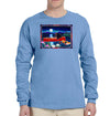 Red Canoe on Long Sleeve Heavyweight Carolina Blue T-Shirt