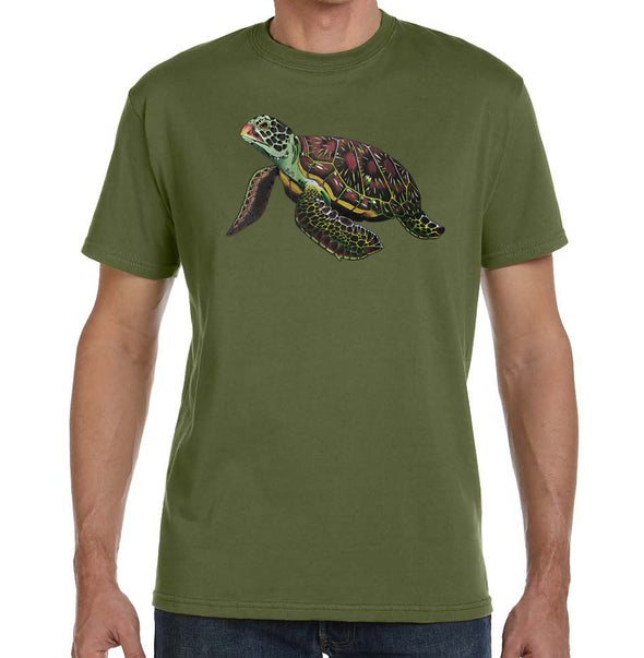 Sea Turtle Organic T-Shirt on Olive Green