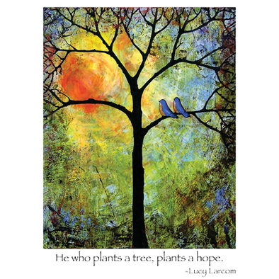 "A closeup of our Sunshine wildlife shirt design showing two bluebirds in a tree accompanied by a quote from Lucy Larcom, ""He who plants a tree, plants a hope"""