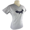 Foxy design on Women's V-Neck in Heather Grey