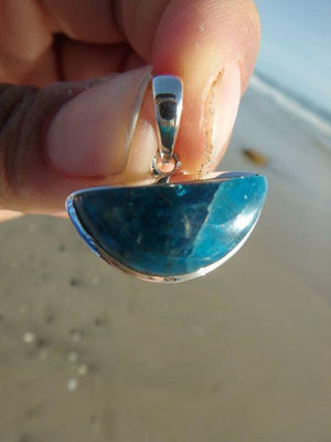 Gorgeous BLUE APATITE GEMSTONE PENDANT In Sterling Silver (Includes Silver Chain) - Earth Family Crystals