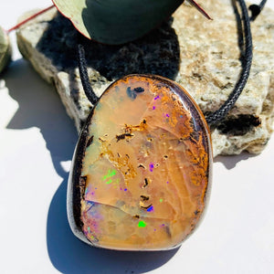 High Grade Sparkling Australian Chunky Boulder Opal Pendant on Adjustable Cotton Cord