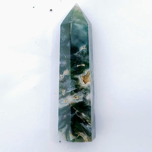 Polished Moss Agate Standing Display Tower #6