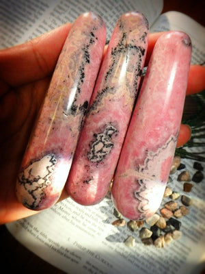 PINK RHODOCHROSITE GEMSTONE WAND - Earth Family Crystals