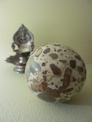 Super Smooth Large Leopard Skin Jasper Sphere Carving - Earth Family Crystals