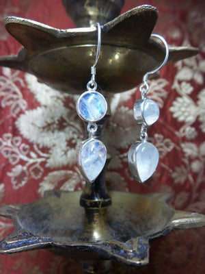 Beautiful Rainbow Moonstone Gemstone Earrings In Sterling Silver - Earth Family Crystals