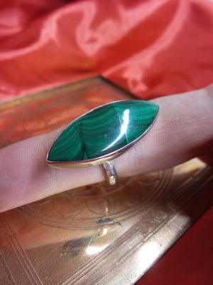 Wavy Green Malachite Gemstone Ring in Sterling Silver (Adjustable Size 9-10) - Earth Family Crystals