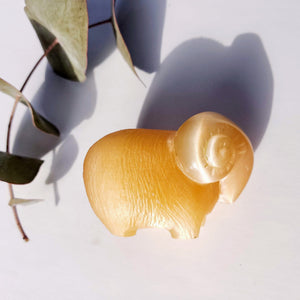 Cute Vintage Orange Selenite Ram Carving