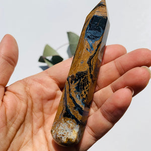 Large Silky Blue & Gold Pietersite Wand Carving #1