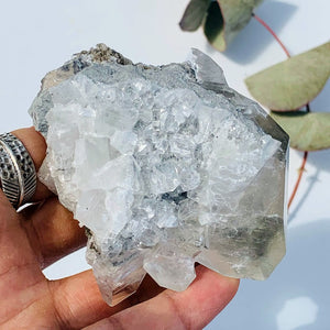 Extreme Sparkle & Lustre Clear Calcite & Pyrite Phantom Included Cluster From Linwood Mine - Earth Family Crystals