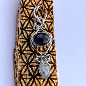 Precious Labradorite & Rainbow Moonstone Pendant in Sterling Silver (Includes Silver Chain) #3