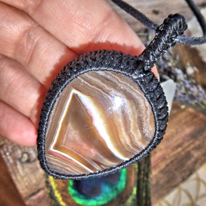 Swirls of Brown Chunky Agate Handmade Macrame Pendant on Adjustable Cotton Cord