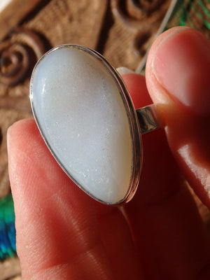 Glimmering White Agate Adjustable Sterling Silver Ring (Size 7-7.5) - Earth Family Crystals