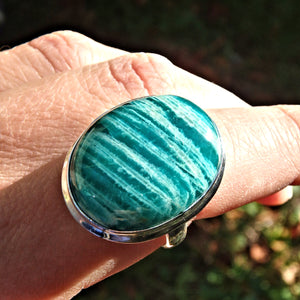 Exquisite Deep Turquoise & Zebra Stripes Amazonite Ring in Sterling Silver (Size 8.5)
