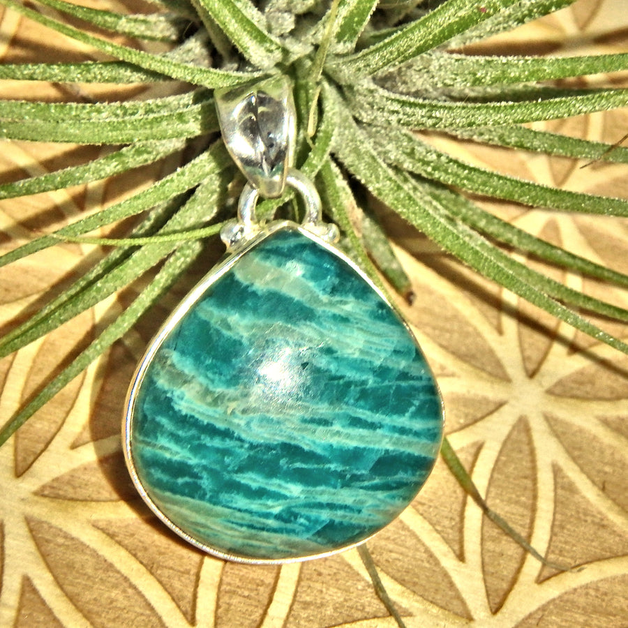 Zebra Patterns Vibrant Blue Amazonite Sterling Silver Pendant (Includes Silver Chain)