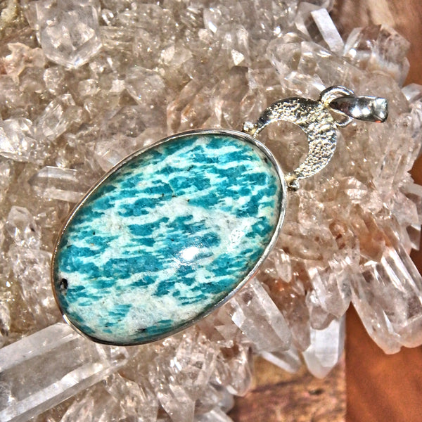 Fantastic Blue Amazonite  Pendant in Sterling Silver (Includes Silver Chain)