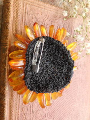 Uplifting Baltic Amber Flower Crochet Brooch 1
