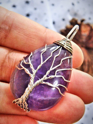Grape Purple Amethyst Tree of Life Wire Wrapped Pendant