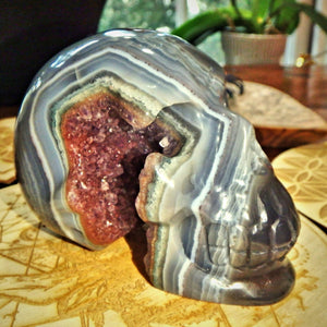 Mr Spunky ~Deep Amethyst Druzy Cave & Blue Agate Swirls Large Skull Carving From Brazil