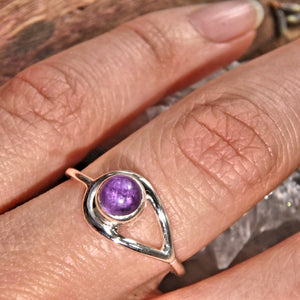 Ideal Stacking Ring~ Jelly Purple Amethyst Sterling Silver Ring (Size 7)
