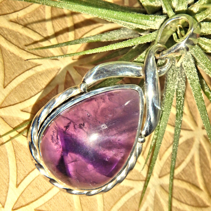 Jelly Purple Amethyst Sterling Silver Pendant (Includes Silver Chain)1