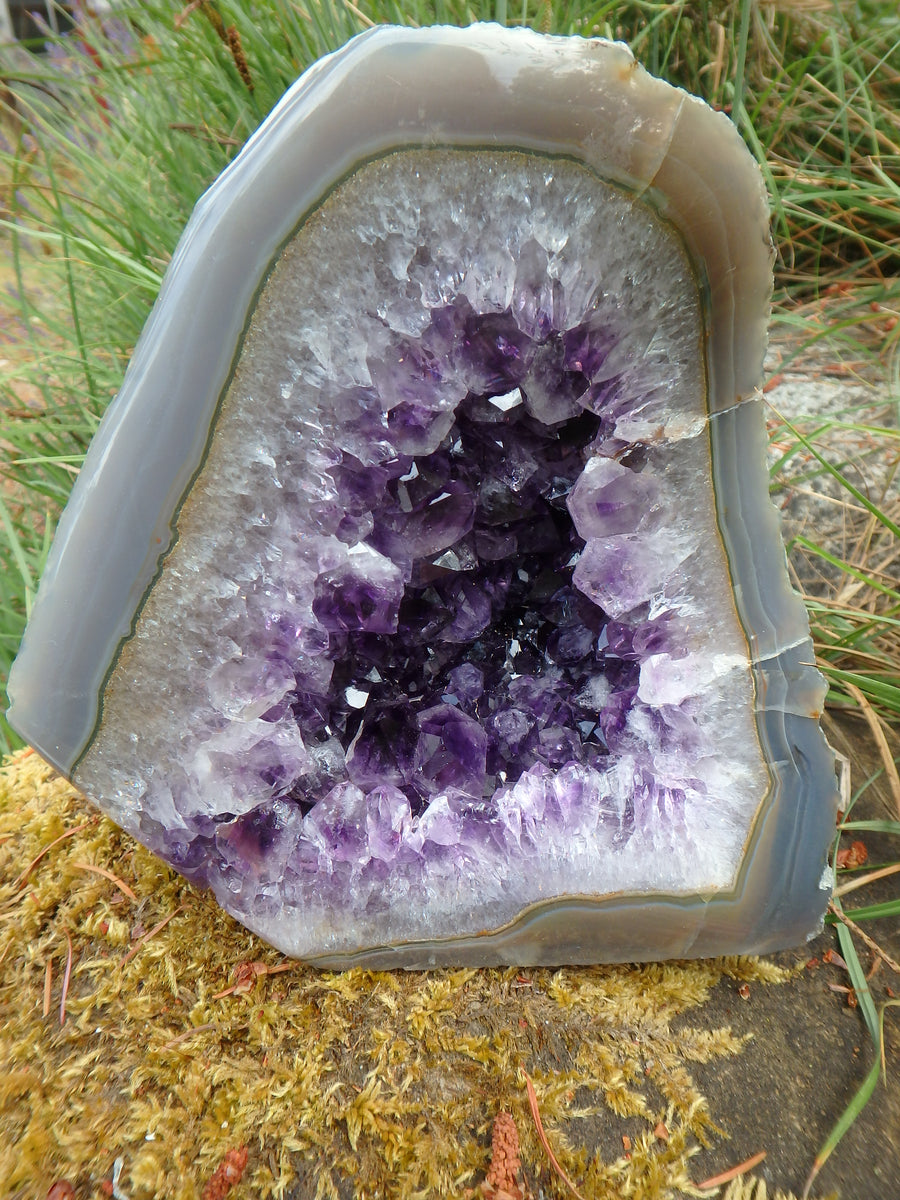 Large Deep Purple Points Amethyst Geode & Blue Agate Combo Display Specimen