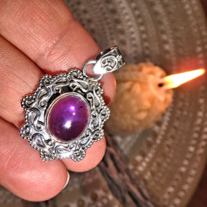 Purple Lust Amethyst Pendant Sterling Silver (Includes Silver Chain)