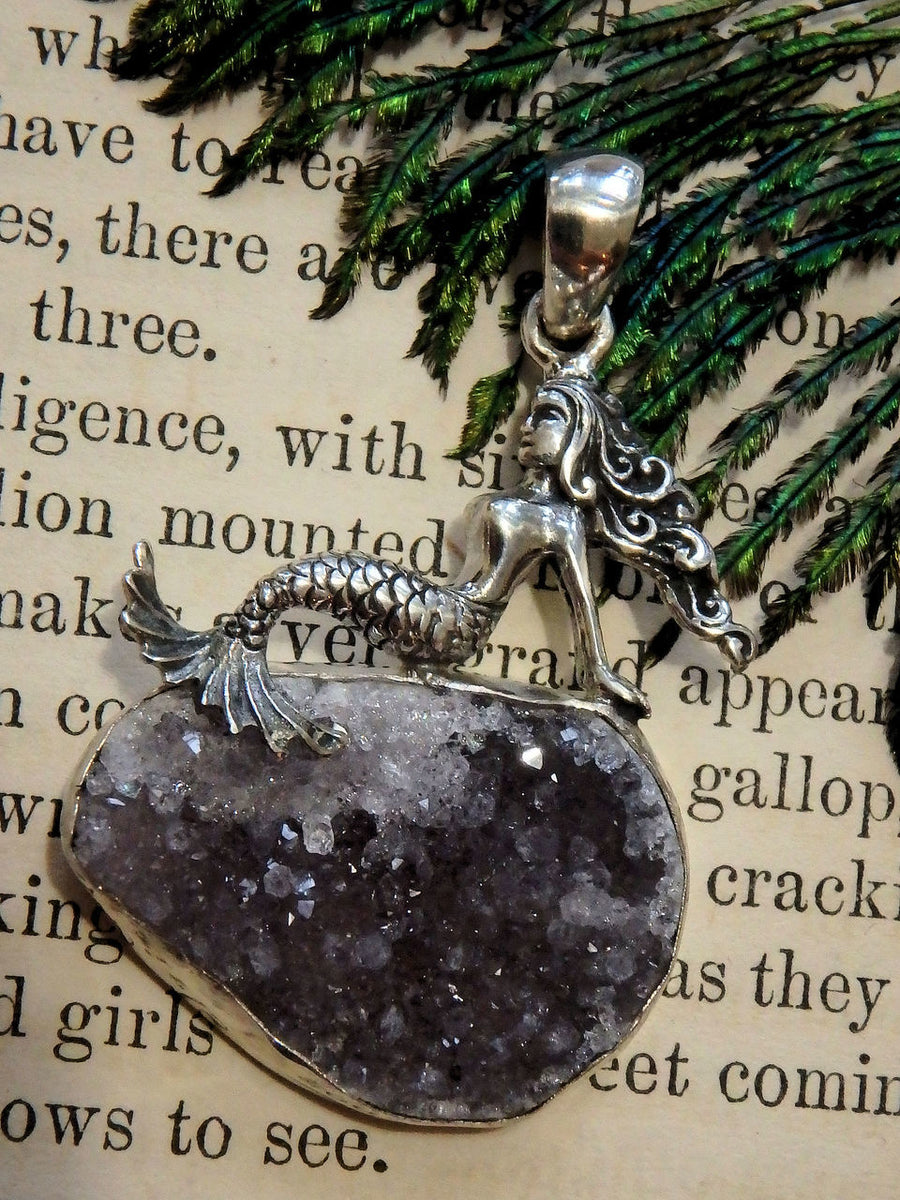 Gorgeous Mermaid & Amethyst Druzy Pendant in Sterling Silver (Includes Silver Chain) - Earth Family Crystals