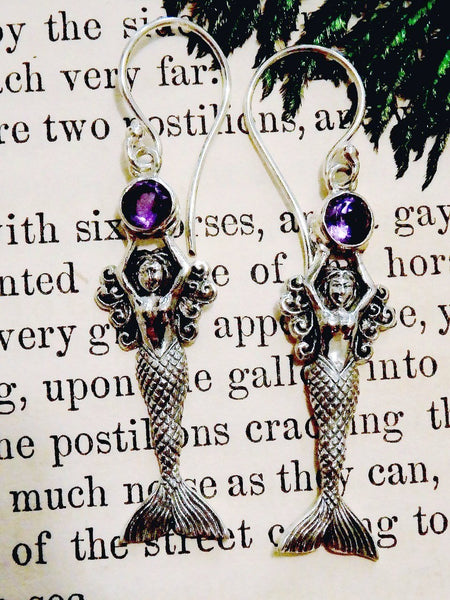 Mermaid Holding Faceted Amethyst Gemstone Earrings in Sterling Silver - Earth Family Crystals
