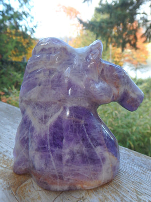 Intricately Hand Carved Breathtaking Amethyst Horse Head Display Specimen - Earth Family Crystals