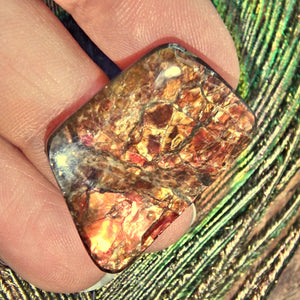 Golden & Red Flashes Alberta Ammolite Cabochon Ideal for Crafting