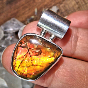 Vibrant Flashes of Color Ammolite Sterling Silver Pendant (Includes Silver Chain)