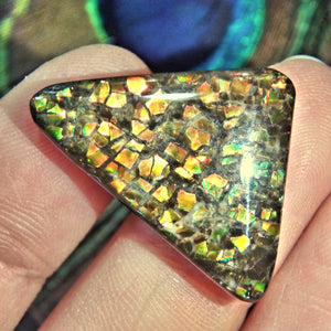 Multi Color Sparkle Alberta Ammolite Cabochon Ideal for Crafting