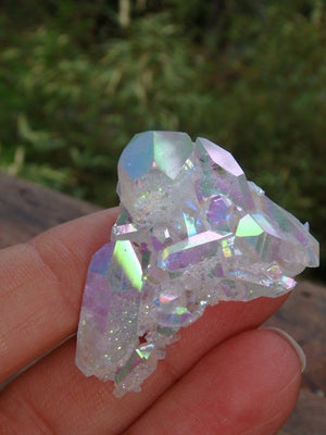 Double Sided Opal Sparkle! Lovely Angel Aura Quartz Cluster - Earth Family Crystals