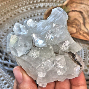 Radiant Golden Calcite & Clear Apophyllite Formation From India