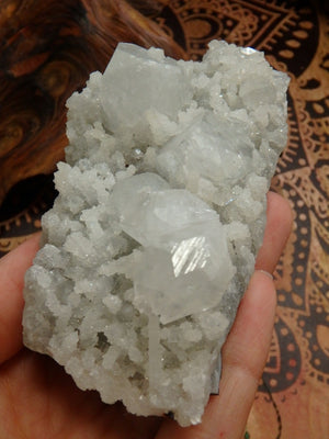 One of a Kind Quartz Stalactites & Clear Apophyllite Cluster From India - Earth Family Crystals