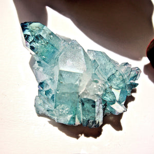 Cute Shimmering Blue Aqua Aura Quartz Cluster From Arkansas #3
